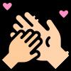 icoon van een kind en volwassen hand